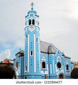 The Hungarian Secessionist Catholic cathedral or the Blue Church in the old town in Bratislava, Slovakia. Local people know this church as the church of St. Elizabeth or Modry Kostol Svatej Alzbety - Shutterstock ID 1510304477