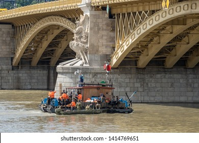 Hungarian and South Korean rescue team continues its search after a tourist boat accident, killing several people in the Danube river in Budapest, Hungary, June 3, 2019.