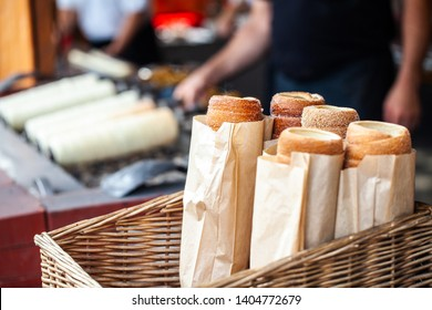 Hungarian Twist Roll. Hungarian Kurtoskalacs prepared on the grill, at a traditional street food market