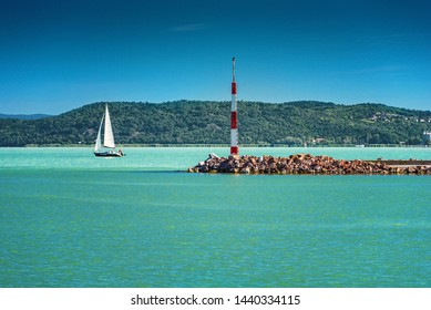 BALATONFÖLDVÁR, HUNGARY - 1 JULY, 2019: Sailboats in the port on lake Balaton in summer