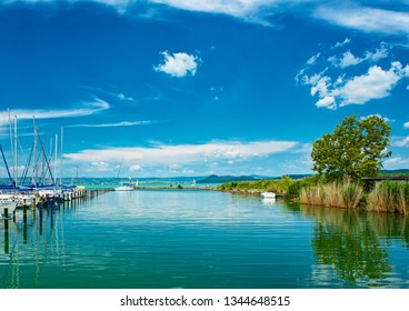 BALATONFÖLDVÁR, HUNGARY - 11 AUGUST, 2018: Sailboats in the port on lake Balaton in summer