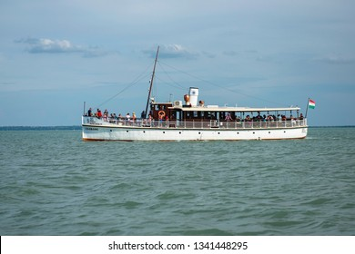 BALATONALMÁDI, HUNGARY - 16 AUGUST, 2018: Csobánc tourist ship on lake Balaton, Balatonalmádi
