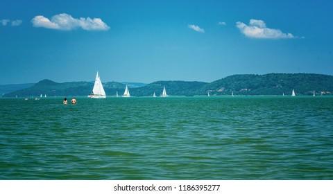 BALATONALMÁDI, HUNGARY - 17 AUGUST, 2018: Sailboat on lake Balaton on 17 August, 2018.
