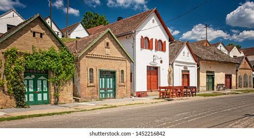 VILLÁNYKÖVESD, HUNGARY - 25 MAY, 2019: Traditional wine cellars in Villánykövesd, Hungary on 25 May, 2019.