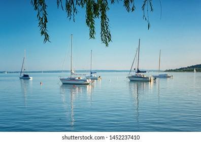 BALATONALMÁDI, HUNGARY - 8 JUNE, 2019: Sailboat on lake Balaton on 8 June, 2019.