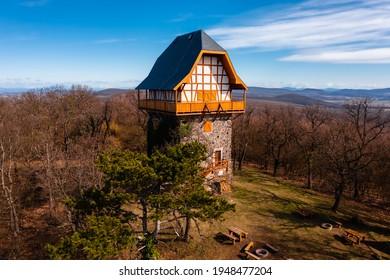 Buják, Hungary - Aerial view of the famous Sasbérc lookout tower which is the highest point of Cserhát mountain. Hungarian name is Sasbérci kilátó.