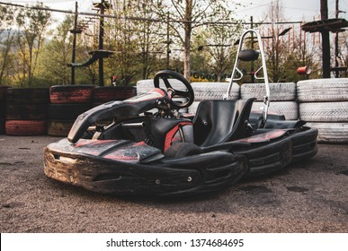 Visegrád, Hungary - April, 2019: Go kart parked in the pit