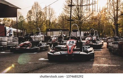 Visegrád, Hungary - April 2019: Go karts on the race track ready to start