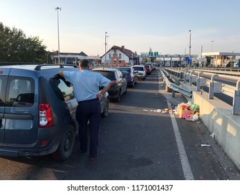 Záhony, Hungary - August 19, 2018: Záhony-Chop checkpoint on the border with   Ukraine and Hungary.