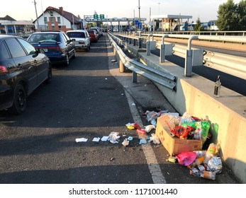Záhony, Hungary - August 19, 2018: Garbage and the cars on the Záhony-Chop checkpoint on the border with Hungary and Ukraine.