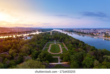 Hungary Budapest. Amazing cityscape about the Margaret island (Margit sziget) in sunset time. Fantastic green area. Popular outdoor meeting point. Clear fresh air and romatic places.