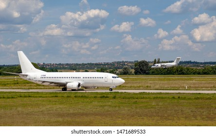 Hungary Budapest Aug 05 2019 : Passenger jets (like GetJet Airline, Eurowing and Lufthansa) waiting for take off on a busy day at the international airport.