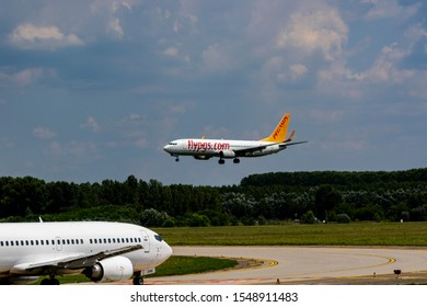 Hungary Budapest Aug 20 2019 : Pegasus Airline Passenger jets  Boeing 737 about to land at Budapest international airport.