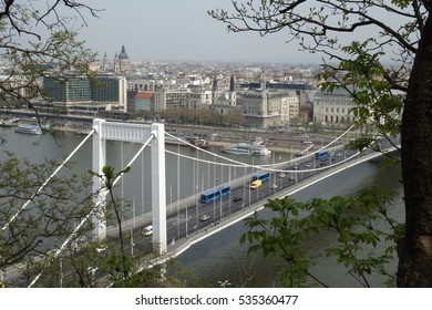 Hungary. Budapest. City view. River and roofs. Budapest view.