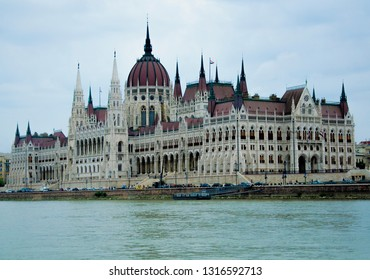 Hungary, Budapest July 11, 2018: Parliament building in Budapest, view from a delightful boat on the Danube