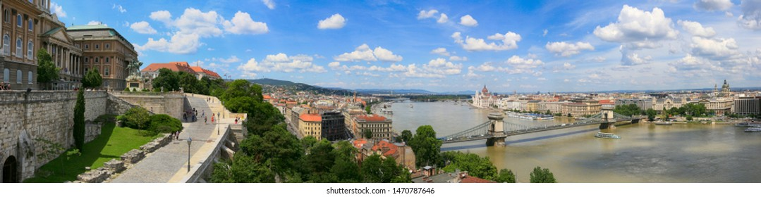 Hungary, Budapest, June 3, 2019. Beautiful panoramic summer view of the city of Budapest and the Danube River from the Buda hills