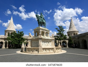 Hungary, Budapest, June 3, 2019. View of statue of Stephen I and towers in the Fishermen's Bastion