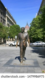 Hungary, Budapest, June 3, 2019. Monument to Ronald Reagan to the President of the United States of America in Budapest