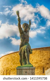 Hungary Budapest March 2017. The statue of the torchbearer part of the pedestal of Liberty Mount Geellert Hungary