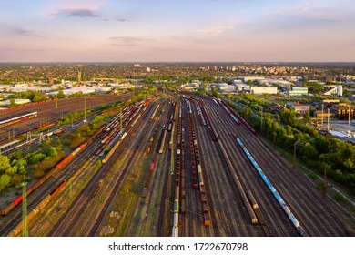 Hungary Budapest. Marshsalling depot with only few trains due to coronavirus.. Stopped the worldwide transport. Normally this is a beehive junction-depot for cargo trains. Ferencvarosi rendezo.