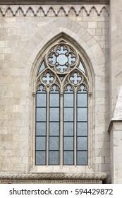 Hungary, Budapest, Matthias Church Gothic window detail.