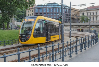 Hungary; Budapest; May 13, 2018; Public transportation in Budapest, tram on the tracks.