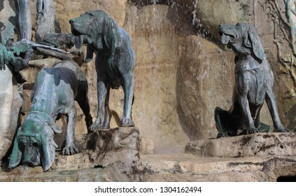 Hungary; Budapest; May 14, 2018; Dogs on the Matthias Fountain in the courtyard of Royal Palace, one of the most famous historic landmark.