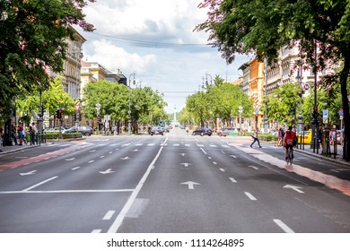HUNGARY, BUDAPEST - MAY 20, 2018: View on the famous Andrassy avenue dating back to 1872 that links Erzsebet square with the Varosliget in Budapest