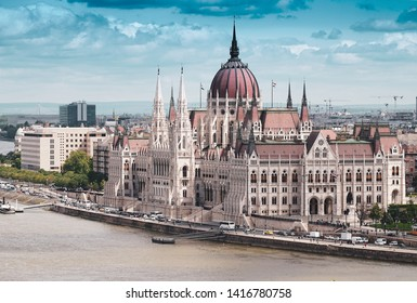 Hungary, Budapest - May 21, 2019: Parliament in Budapest, Danube river