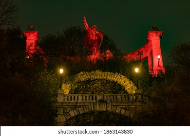 "HUNGARY, BUDAPEST - NOVEMBER 25, 2020  ""Redwednesday"" of Budapest commemoration of the Christian sacrifice.    (St Gellert Monument )"