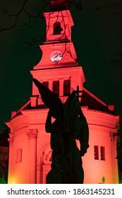 "HUNGARY, BUDAPEST - NOVEMBER 25, 2020  ""Redwednesday"" of Budapest commemoration of the Christian sacrifice.   ( Budavár Lutheran Church )"
