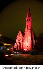 "HUNGARY, BUDAPEST - NOVEMBER 25, 2020  ""Redwednesday"" of Budapest commemoration of the Christian sacrifice. ( Reformed church in Szilágyi Dezső Square )"