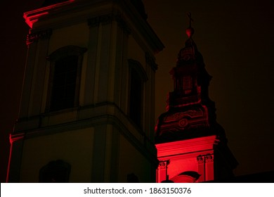"HUNGARY, BUDAPEST - NOVEMBER 25, 2020  ""Redwednesday"" of Budapest commemoration of the Christian sacrifice. (Budapest-Downtown Assumption Parish Church)"