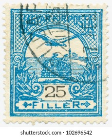 """HUNGARY - CIRCA 1900: A stamp printed in the Hungary shows a """"Turul"""" �� and Crown of St. Stephen, circa 1900"""