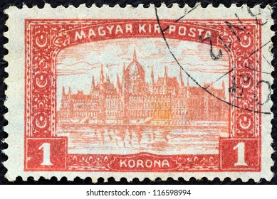 HUNGARY - CIRCA 1916: A stamp printed in Hungary shows Parliament Building, Budapest, circa 1916.