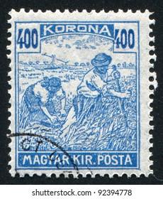 HUNGARY - CIRCA 1916: A stamp printed by Hungary, shows Harvesting Wheat, circa 1916