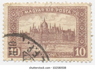 HUNGARY - CIRCA 1918: A stamp printed in the Hungary shows Parliament Building at Budapest, circa 1918