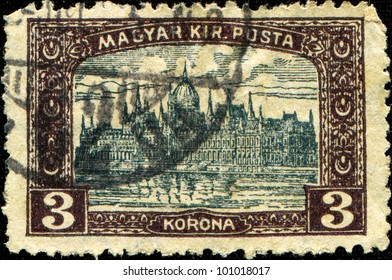 HUNGARY - CIRCA 1920: A stamp printed in Hungary shows Parliament building in Budapest, circa 1920