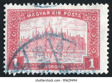 HUNGARY - CIRCA 1930: stamp printed by Hungary, shows Palace at Budapest, circa 1930