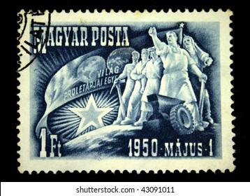 HUNGARY - CIRCA 1950: A Stamp printed in Hungary honoring 1 st of May, circa 1950