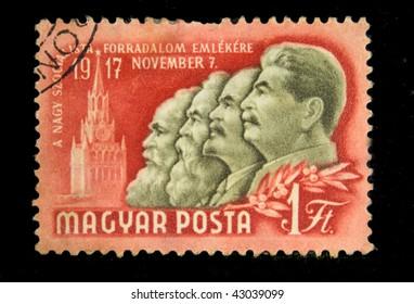 HUNGARY - CIRCA 1950s: A Stamp printed in Hungary shows Marx - Engels - Lenin - Stalin, circa 1950s