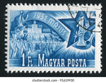 HUNGARY - CIRCA 1951: stamp printed by Hungary, shows workers, approaching to the Place of Heroes, circa 1951