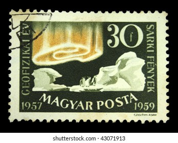 HUNGARY - CIRCA 1959: A Stamp printed in Hungary shows aurora at the South Pole, circa 1959