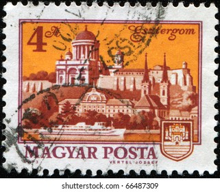 HUNGARY -CIRCA 1960s: A stamp printed in Hungary shows view of Esztergom, circa 1960s