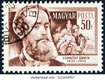 HUNGARY - CIRCA 1961: A stamp printed in Hungary shows a portrait image of  Vambery Armin