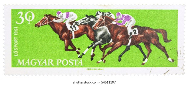 HUNGARY - CIRCA 1961: A stamp printed in Hungary showing horse race, circa 1961