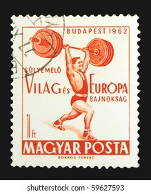 HUNGARY - CIRCA 1962: A stamp printed in Hungary showing lifter, circa 1962