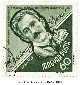 HUNGARY - CIRCA 1963: A stamp printed in Hungary, shows portrait Geza Gardonyi (1863-1922), writer of Hungarian historical novels for youth, series, circa 1963
