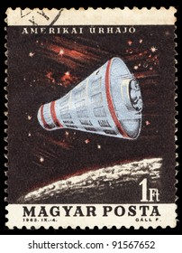 HUNGARY - CIRCA 1963: A stamp printed in Hungary shows American spacecraft, series U.S. & USSR Spacecraft, circa 1963
