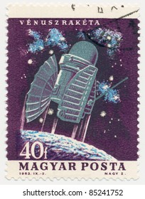 HUNGARY - CIRCA 1964: A stamp printed in Hungary, shows spacecraft Venus space probe, series US & USSR Spacecraft, circa 1964
